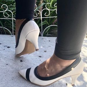 Comfy Mid Heel Pumps in Off White and Black